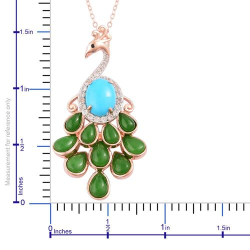 TJC Exclusive-Arizona Sleeping Beauty Turquoise (Ovl 1.25 Ct), Green Jade, Boi Ploi Black Spinel and White Zircon Peacock Pendant with Chain in Rose Gold Overlay Sterling Silver 6.450 Ct.