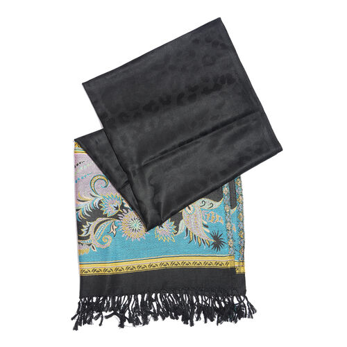 Black, Blue and Multi Colour Floral and Leaves Pattern Scarf with Tassels (Size 190X70 Cm)