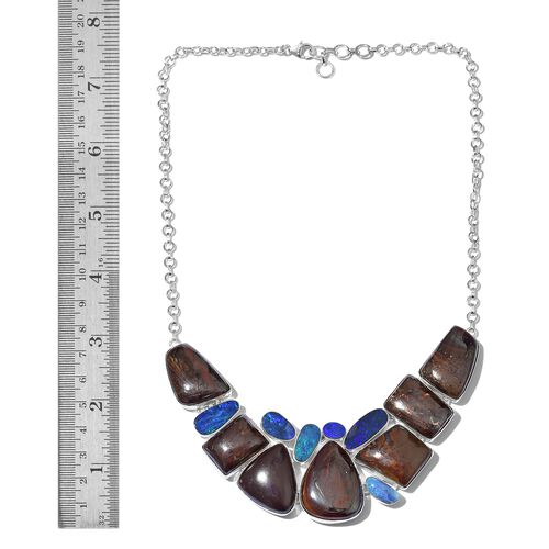 Boulder Opal Rock and Opal Double Necklace (Size 18with 1 inch Extender) in Sterling Silver 208.801 Ct.