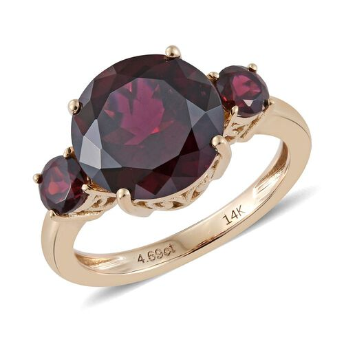 14K Yellow Gold 5.50 Carat AAA Rhodolite Garnet Ring
