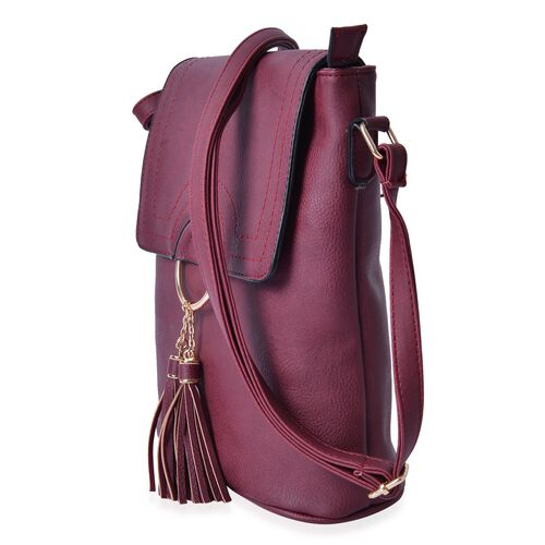 Burgundy Colour Bag with Tassels and Adjustable Shoulder Strap (Size 29x26x10 Cm)