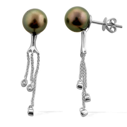 ILIANA 18K W Gold Tahitian Pearl (Rnd), Diamond Earrings 11.555 Ct.