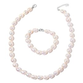 Hand Knotted High Lustre Double Shine Fresh Water White Pearl Necklace (10mm -11mm) (Size 18 with 2 inch Extender) and Bracelet (Size 7.5) in Rhodium Plated Sterling Silver, Silver wt 3.00 Gms.