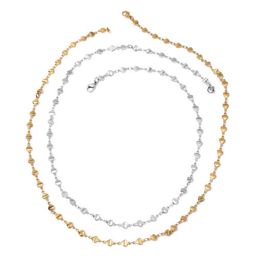 Set of 2 - ION Plated Yellow Gold and Stainless Steel Necklace (Size 24)