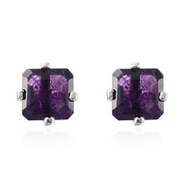 ASSCHER CUT Amethyst Stud Earrings (with Push Back) in Platinum Overlay Sterling Silver 3.000 Ct.