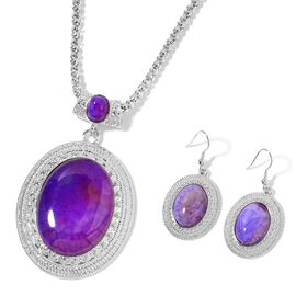 Purple Agate Pendant with Chain (Size 22 with 2 inch Extender) and Hook Earrings in Silver Tone 90.000 Ct.
