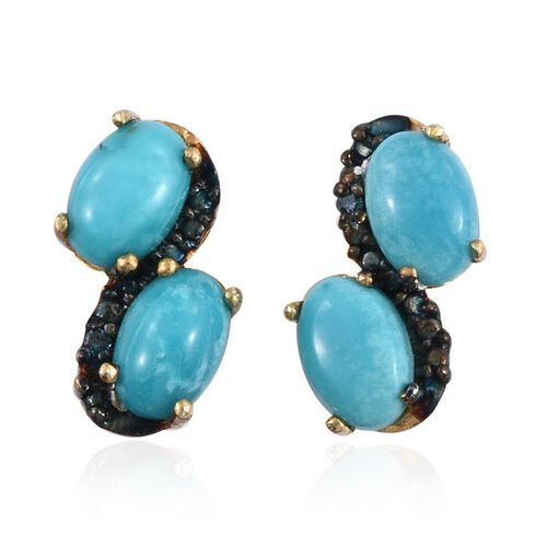 Kingman Turquoise (Ovl), Blue Diamond Earrings (with Push Back) in 14K Gold Overlay Sterling Silver 1.760 Ct.