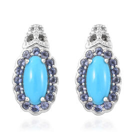 Arizona Sleeping Beauty Turquoise (Ovl), Iolite Earrings in Platinum Overlay Sterling Silver 4.500 Ct. Silver wt 5.22 Gms.