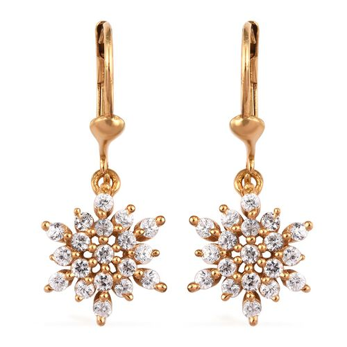 Natural Cambodian Zircon 1 Carat Snowflake Lever Back Earrings in 14K Gold Overlay Sterling Silver
