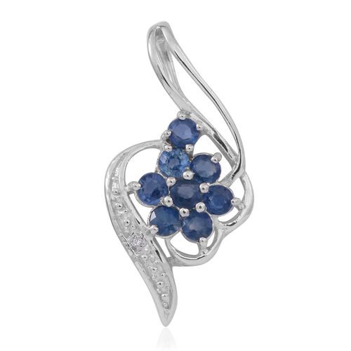 Kanchanaburi Blue Sapphire (Rnd), Natural White Cambodian Zircon Pendant in Rhodium Plated Sterling Silver 1.250 Ct.
