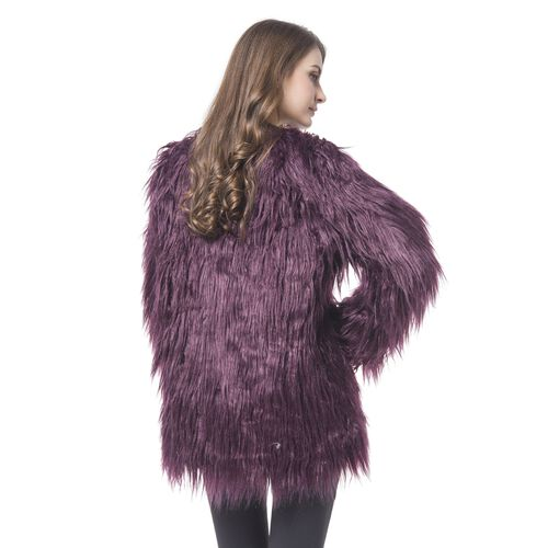 Close Out Designer Inspired Dark Plum Colour Faux Fur Jacket (Size 75X53 Cm)