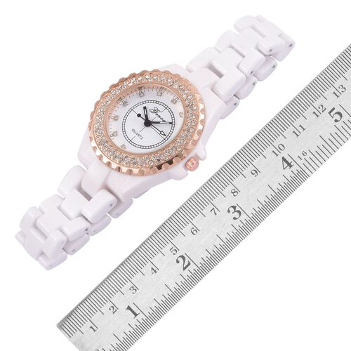GENOA AAA Austrian Crystal White Ceramic Strap Watch - Rose Gold Tone