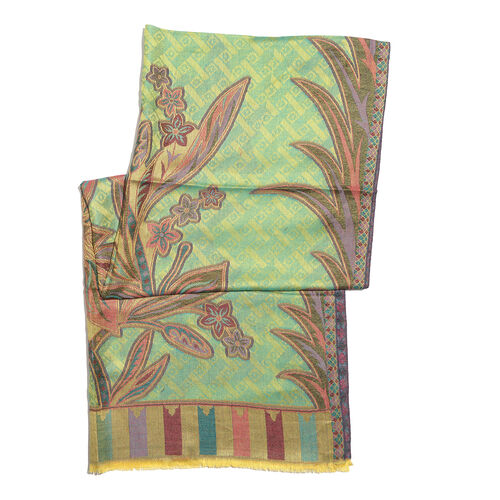 Green, Orange and Multi Colour Floral and Leaves Pattern Scarf with Fringes (Size 190X70 Cm)