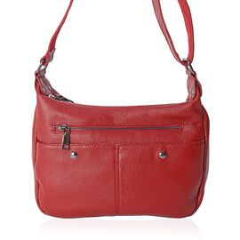 100% Genuine Leather Red Colour Crossbody Bag with External Zipper Pocket and Adjustable Shoulder Strap (Size 26x20x9 Cm)