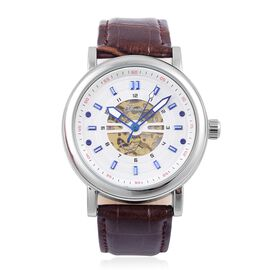 GENOA Automatic Skeleton White and Blue Dial Water Resistant Watch in Silver Tone with Glass Back and Chocolate Colour Leather Strap