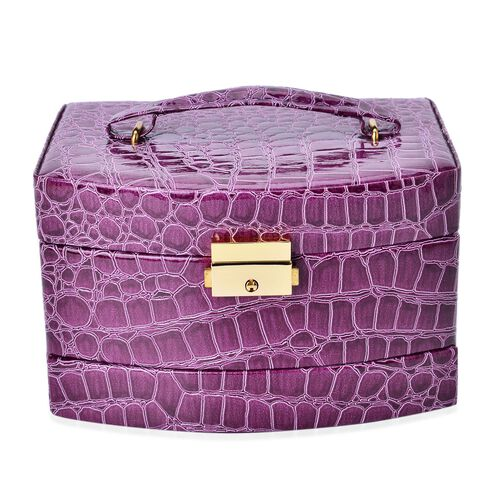 Purple Colour Croc Embossed 3 Layer Jewellery Box with Mirror Inside (Size 18x14x11 Cm)