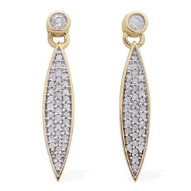 9K Yellow Gold SGL Certified Diamond (Rnd) (I3/G-H) Earrings 0.500 Ct.
