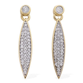 9K Yellow Gold 0.50 Carat Diamond Pave Sleek Drop Earrings SGL Certified I3 G-H