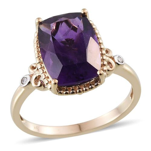 9K Y Gold AAA Lusaka Amethyst (Cush 5.50 Ct), Diamond Ring 5.520 Ct.