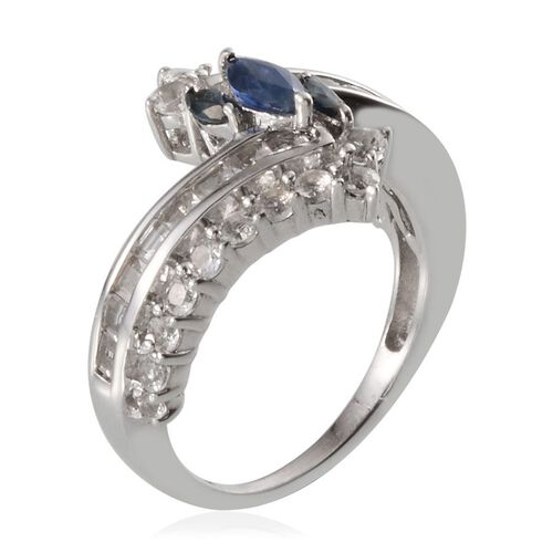 Kanchanaburi Blue Sapphire (Mrq), White Topaz Crossover Ring in Platinum Overlay Sterling Silver 2.500 Ct.