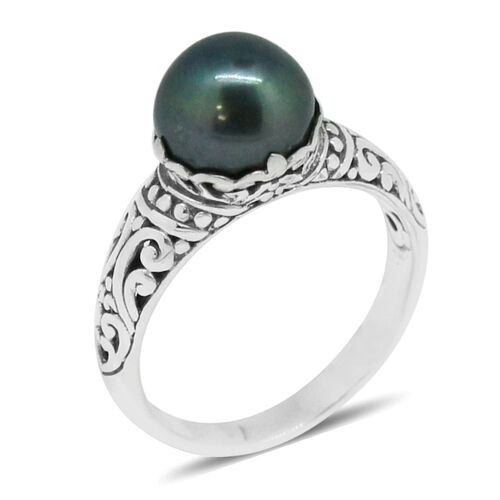 Royal Bali Collection Fresh Water Peacock Pearl (Rnd 10 mm) Solitaire Ring in Sterling Silver