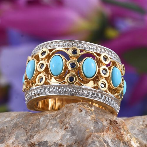 Arizona Sleeping Beauty Turquoise (Ovl), Kanchanaburi Blue Sapphire Ring in 14K Gold Overlay Sterling Silver 1.750 Ct.