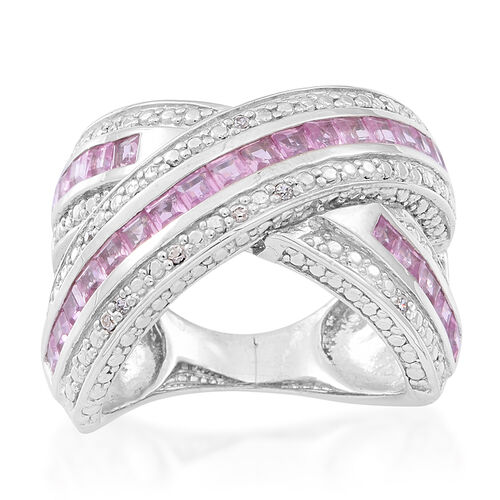 AAA Pink Sapphire (Sqr), Natural Cambodian Zircon Criss Cross Ring in Rhodium Plated Sterling Silver 2.000 Ct.