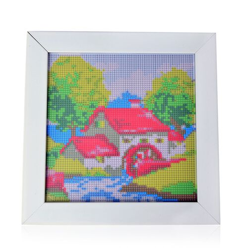 Home Decor - House Pattern Painting Kit with Multi Colour Crystals (Size 24X24 Cm)