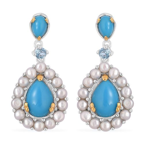 AA Arizona Sleeping Beauty Turquoise (Pear), Fresh Water Pearl and Swiss Blue Topaz Drop Earrings (with Push Back) in Rhodium and Yellow Gold Overlay Sterling Silver 7.210 Ct. Silver wt 6.00 Gms.