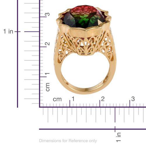 Bi-Color Tourmaline Quartz (Ovl) Ring in 14K Gold Overlay Sterling Silver 18.250 Ct.