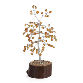 Home Decor - Citrine Leaves GemStone Tree (Stone wt Approx 50 to 55 Ct.) (Size 18x6 Cm)