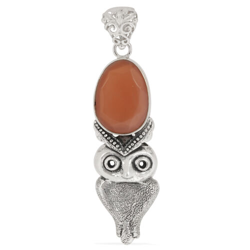Creature Couture - Owl Pendant with Orange Moonstone in Sterling Silver 4.020 Ct.