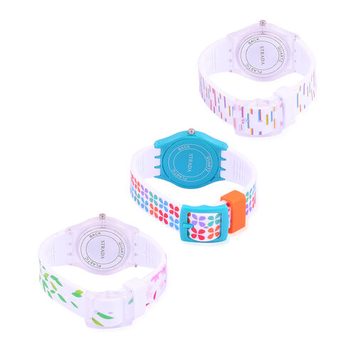 Set of 3 - STRADA Japanese Movement White, Blue and Multi Colour Clover, Floral, Leaves and Stripes Pattern Watch in Silver Tone with Silicone Strap