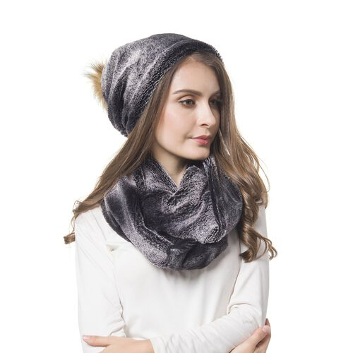 Brand New For the Season - Black Colour Faux Fur Scarf (Size 80X18 Cm) and Hat (Size 30X29 Cm) Set