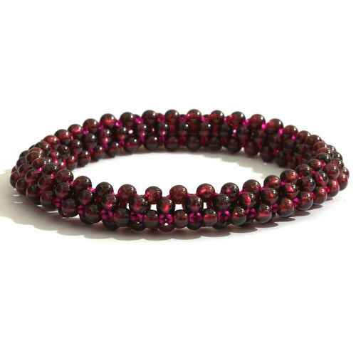 Rhodolite Garnet (Rnd) Beads Stretchable Bracelet (Size 7.5) 90.000 Ct.