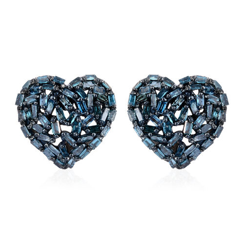 GP Blue Diamond (Bgt), Kanchanaburi Blue Sapphire Heart Stud Earrings (with Push Back) in Platinum Overlay Sterling Silver 0.540 Ct.