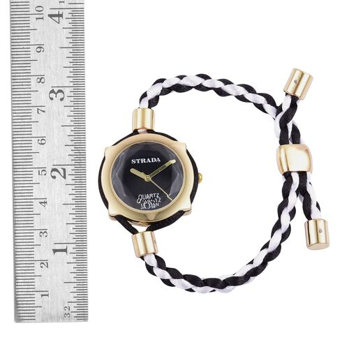 STRADA Japanese Movement Black Dial Adjustable Bracelet Watch in Gold Tone with Lace Strap