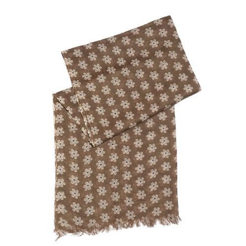 100% Merino Wool White Floral Pattern Brown Colour Scarf with Fringes (Size 180x70 Cm)