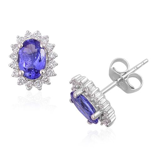 ILIANA 1.65 Ct AAA Tanzanite and Diamond (SI/G-H) Halo Stud Earrings in 18K White Gold (with Push Back)