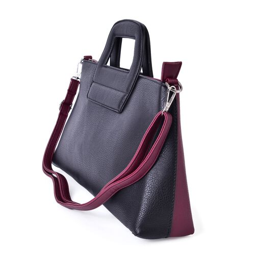 Black and Burgundy Colour Tote Bag with External Zipper Pocket and Adjustable and Removable Shoulder Strap (Size 41x35x20x9 Cm)