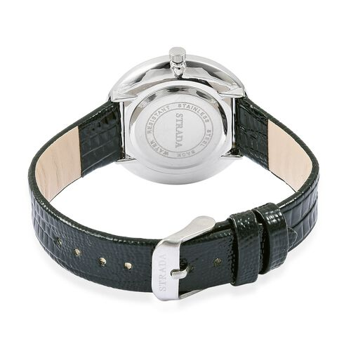 STRADA Japanese Movement Abalone Shell Dial with White Austrian Crystal Watch in Silver Tone with Black Colour Strap