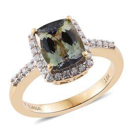 ILIANA 18K Yellow Gold Very Rare AAA Natural Green Tanzanite (Cush 2.43 Ct), Diamond (SI G-H) Ring 2.660 Ct.