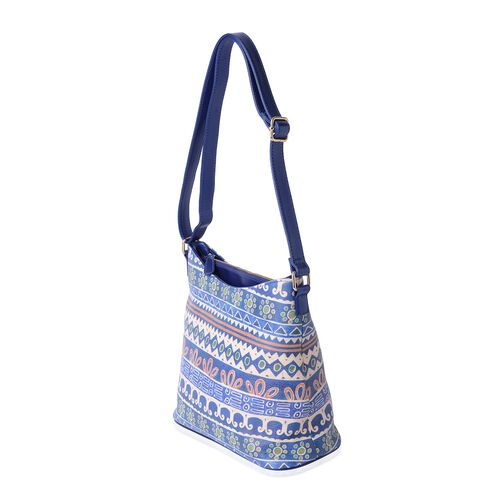 Summer Special - Blue and Multi Colour Santa Fe Pattern Digital Printed Shoulder Bag (Size 28.5x28.5x14 Cm)