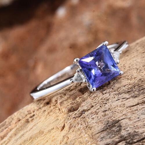 ILIANA 18K White Gold 1.05 Ct AAA Tanzanite Ring with Diamond (SI/G-H)