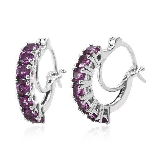 Purple Garnet Hoop Earrings (with Clasp) in Platinum Plated Silver 1.75 Ct