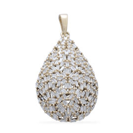 Designer Inspired 9K Y Gold SGL Certified Fire Cracker Diamond (Bgt) (I3/G-H) Tear Drop Pendant 1.000 Ct. 4.27 Grams Gold