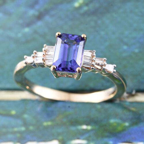 ILIANA 18K Y Gold AAA Tanzanite (Oct 1.00 Ct), Diamond (SI/G-H) Ring 1.150 Ct. Gold Wt. 3.50 Gms