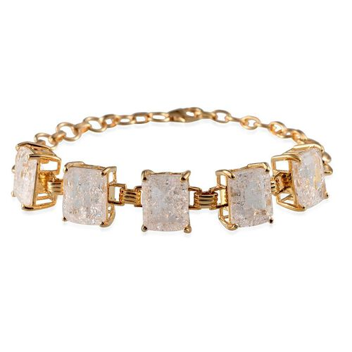 White Crackled Quartz (Oct) Bracelet (Size 7) in 14K Gold Overlay Sterling Silver 17.000 Ct.