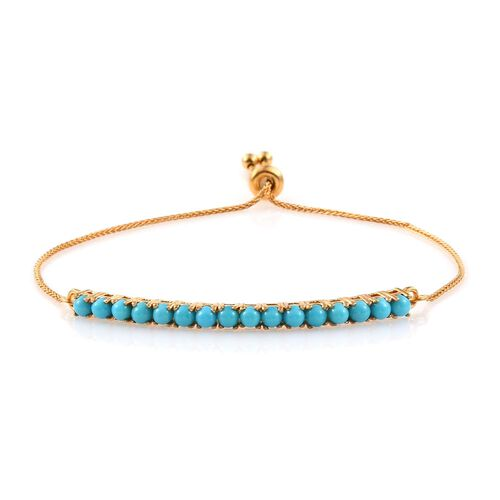 Arizona Sleeping Beauty Turquoise (Rnd) Adjustable Bracelet (Size 6.5 to 8.5) in 14K Gold Overlay Sterling Silver