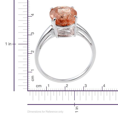 Tanzanian Sun Stone (Ovl) Solitaire Ring in Platinum Overlay Sterling Silver 4.000 Ct.